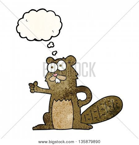 freehand drawn thought bubble textured cartoon beaver