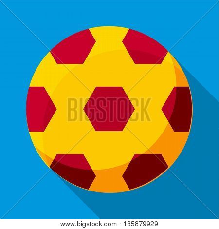 Soccer ball icon in flat style with long shadow. Sports and games symbol