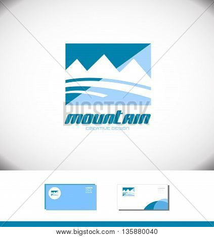Vector company logo icon element template blue mountain shape peak top tourism tourist