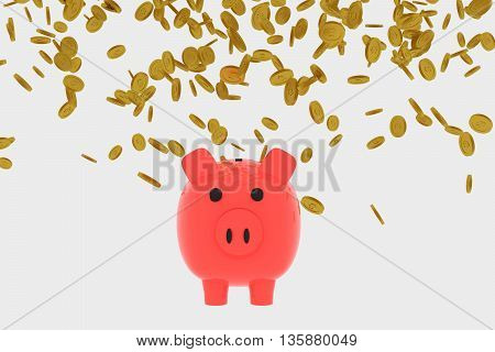 3D rendering of Golden coins falling into a piggy bank isolated on white. US dollar coins