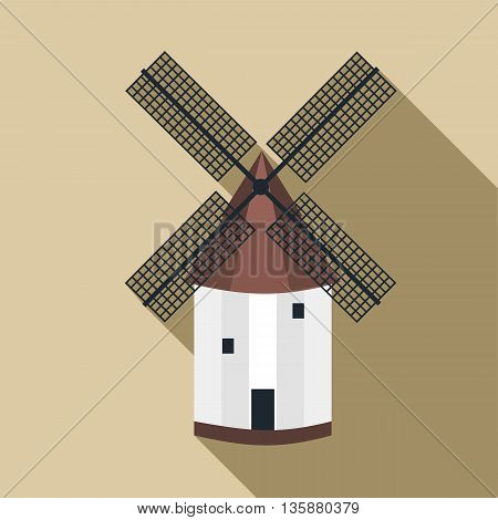 Mill icon in flat style with long shadow. Mechanism grinding flour symbol
