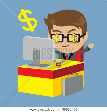 Businessman sitting at table and money Business concept