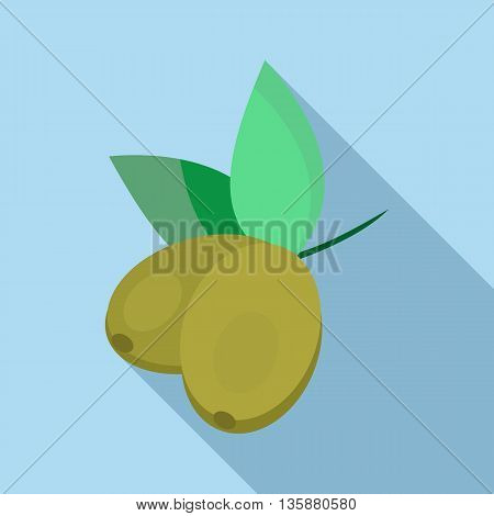 Olives icon in flat style with long shadow. Fruit of olive tree symbol
