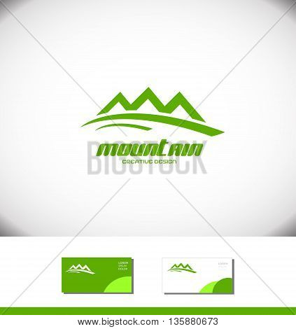 Vector company logo icon element template green mountain tourist tourism holiday