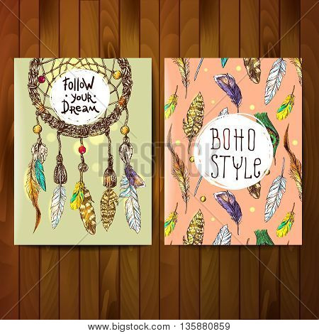 Boho style banner set with sketch dreamcatcher and feathers pattern. Hand drawn boho illustration.
