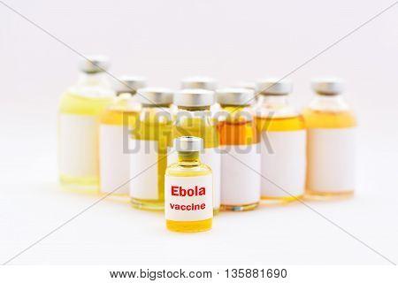 Bottle of ebola virus vaccine for injection