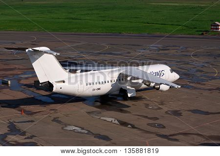 Kiev Ukraine - May 17 2012: Sky Wings Avro 146-RJ100 parked on the apron of the airport