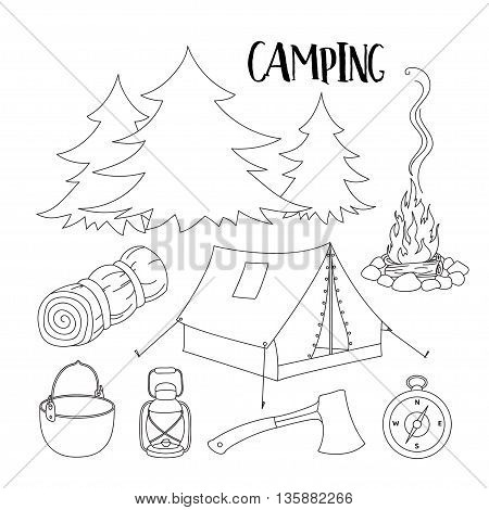 Set of camping equipment symbols and icons. Vector illustration, EPS 10