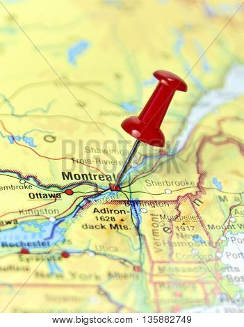 Map with pin set on Montreal, Canada.