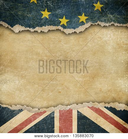 Brexit - European union and Great Britain flags on cardboard