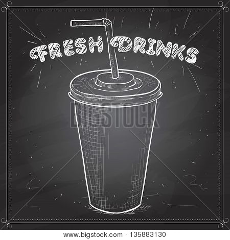 Cola cup scetch on a black board. Vector illustration, EPS 10