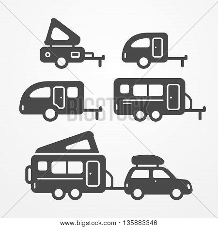 Set of camping trailer icons. Travel trailer symbols in silhouette style. Camping trailers vector stock illustration. Five trailers with camping equipment.