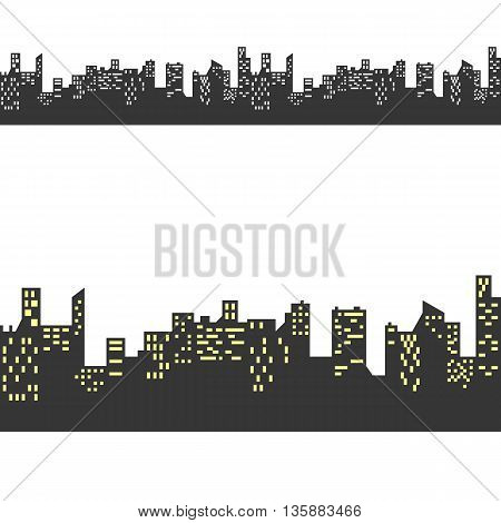 Vector Silhouetted building, seamless pattern no background