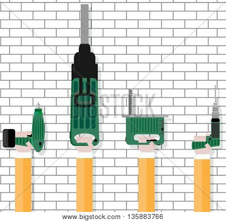 Instrument in worker hands. Power tools for work construction equipment instrument isolated on brickwall. Vector illustration