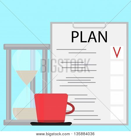 Morning planning concept. Plane and strategy business plan and planning process. Vector illustration