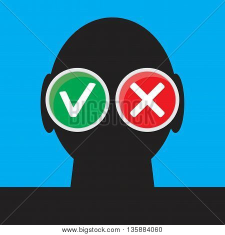 Personal choice concept. Yes and no yes no maybe right and wrong do and dont vector illustration
