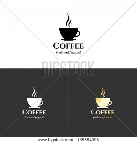 Food and drinks logotype symbol, for cafe, coffee house, restaurant, bar. With a hot coffee cup