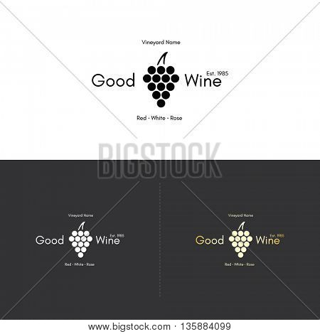 Food and drinks logotype symbol, for cafe, coffee house, restaurant, bar. With a grapes