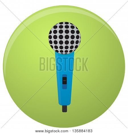 Microphone icon colored isolated. Microphone isolated and vintage microphone for mobile app. Vector illustration