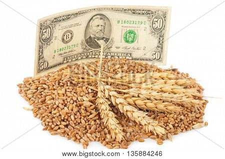 Dollar banknote and wheat grains
