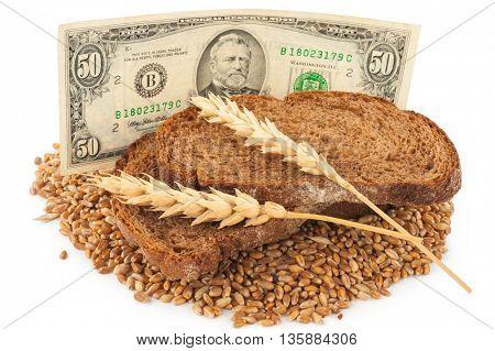 Slice bread with money