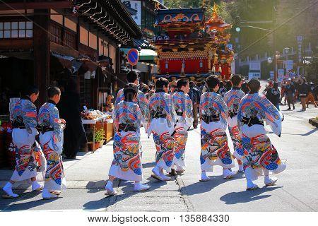 Children Attend Floating Puppet  Festival In Takayama