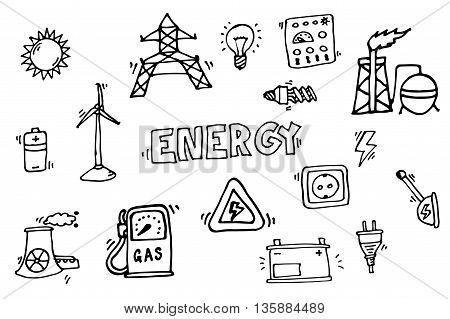 Hand drawn Energy Icons Set. Vector illustration, EPS 10