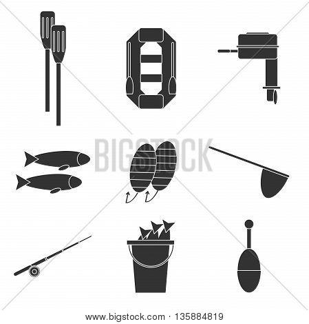 Fishing icons set. Vector illustration, EPS 10