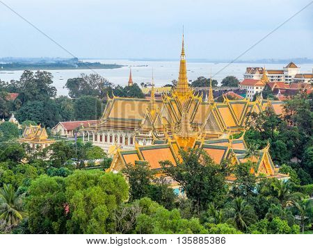 aerial scenery with palace at the capital city Phnom Penh in Cambodia