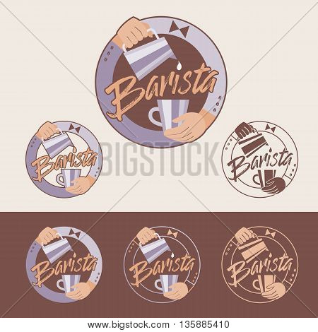 Barista vector emblem. Color and monochrome versions.
