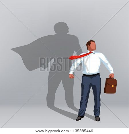 illustration of businessman with shadow of super hero