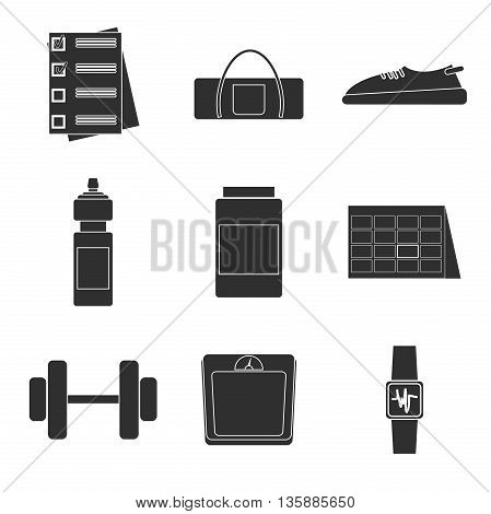 Set of Vector Fitness Aerobics Gym Elements and Fitness Icons. Illustration can be used as Logo or Icon in premium quality