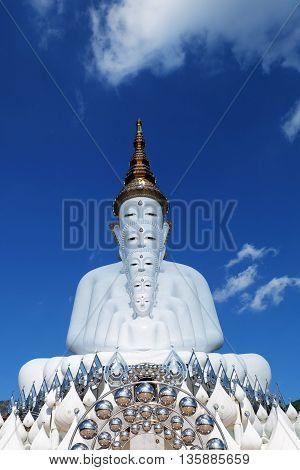 Big White Buddha Statue on sky background