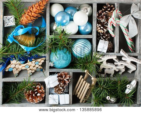 Christmas decoration with christmas tree branches in wooden box. Holidays consept.