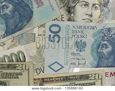 Mixed currency notes - USD EUR SEK PLN CZK