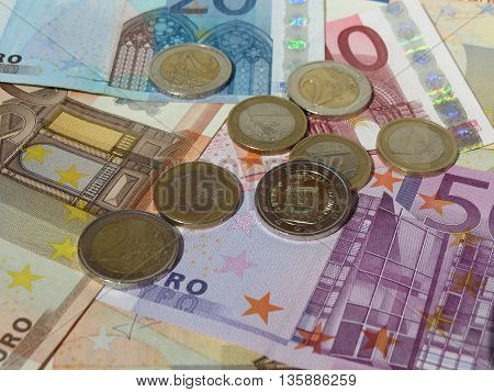 Euro coins and banknotes currency of the European Union