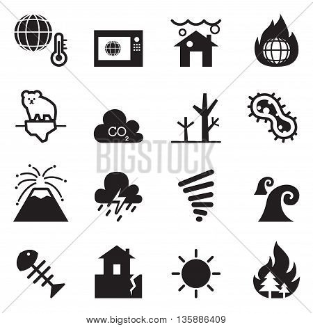 global warming Disaster catastrophe icons set Collection Vector illustration