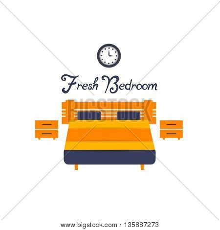 Bedroom background interior design with furniture: double bed cupboards electric clock. Vector flat style illustration. Material vector icon