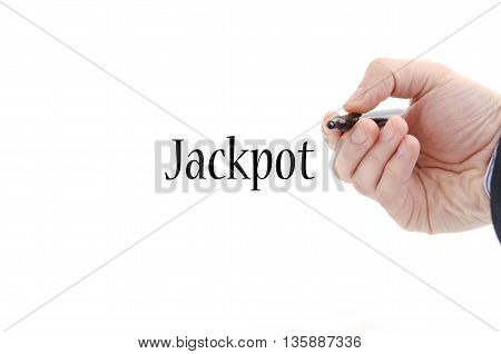 Jackpot text concept isolated over white background