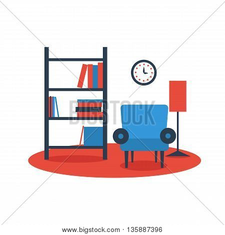bookshelf armchair interior design on white background flat vector icon. Vector illustration of living room interior design. Furniture arrangement.
