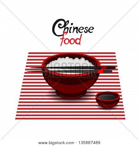 Chinese food rice color vector flat icon on a white background. Soy sauce in the red dish and chopsticks.