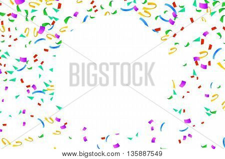 illustration of different color flying confetti around clear circle on bright background