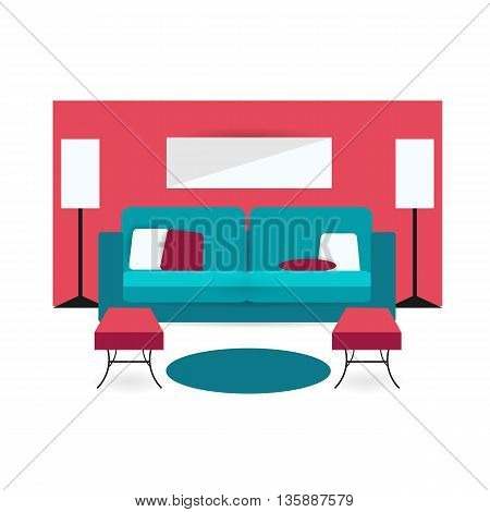 living room background interior colorful design with furniture double sofa cupboards lamp arm chair and pillow. Vector flat style illustration. Material vector icon