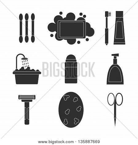 Personal hygiene icons set with bathroom cosmetics isolated vector illustration