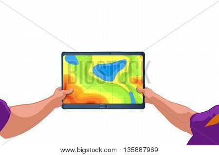 illustration of hands holding tablet with country map on screen