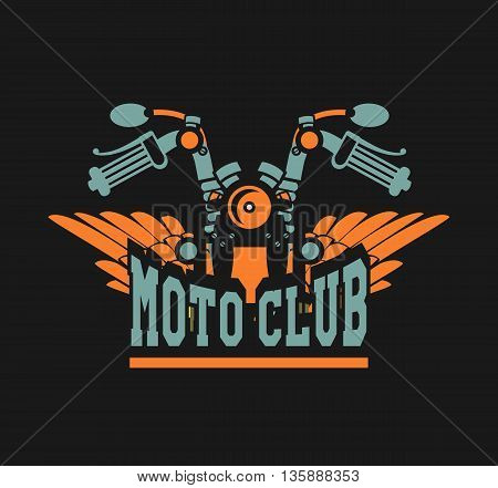 vector motorcycle club emblem retro bike with wings on a black background