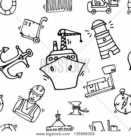 Sea port black icons pattern with ships and marine transport isolated vector illustration