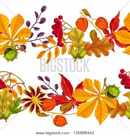 Seamless borders with autumn leaves and plants. Background easy to use for backdrop, textile, wrapping paper.