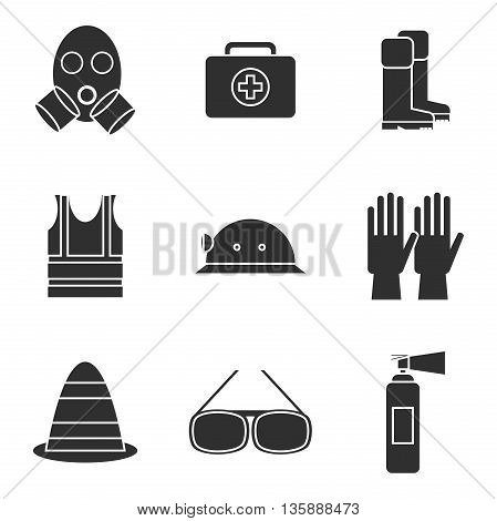 Safety equipment icon set. Safety icons vector illustration. Safety icons isolated on white background. Safety work icons. Safety symbols elements collection. Safety at work vector icons collection