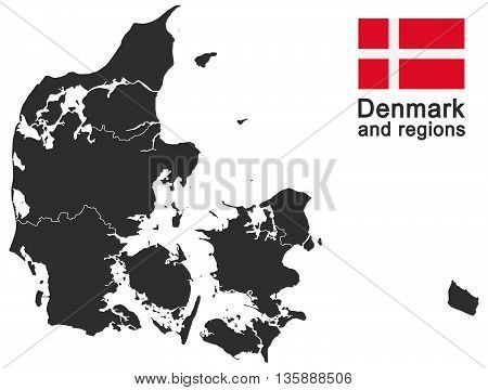 european country Denmark and detailed regions isolated on white background